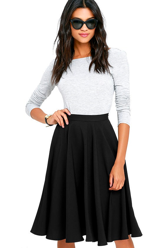 Lovely Black Skirt - High-Waisted Skirt - Midi Skirt - $45.00
