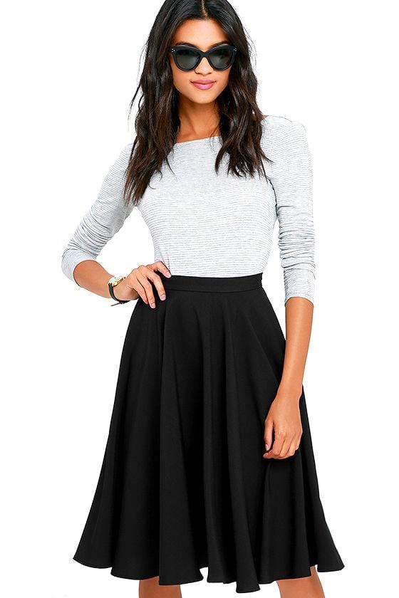 Lovely Black Skirt - High-Waisted Skirt - Midi Skirt - $45.00