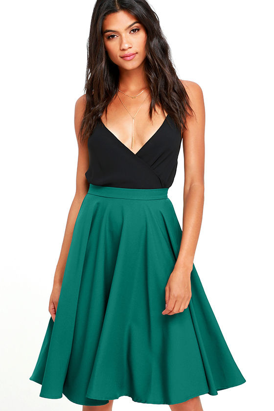 Dance Montage Dark Green Midi Skirt 1