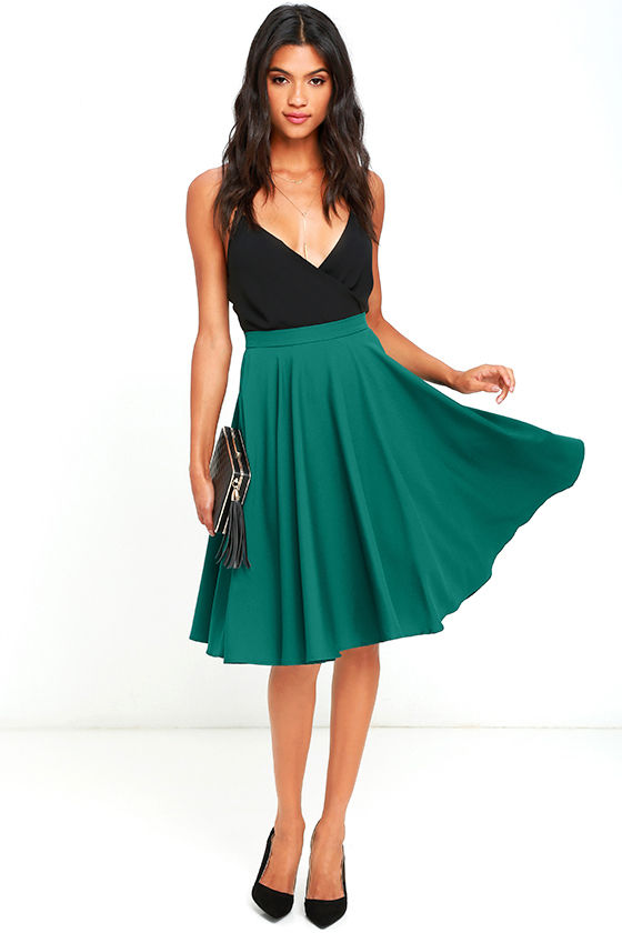 Lovely Dark Green Skirt - High-Waisted Skirt - Midi Skirt -  45.00 207c3ffc2