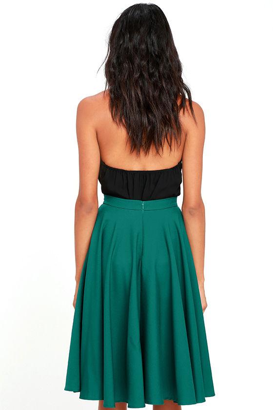 Dance Montage Dark Green Midi Skirt 3