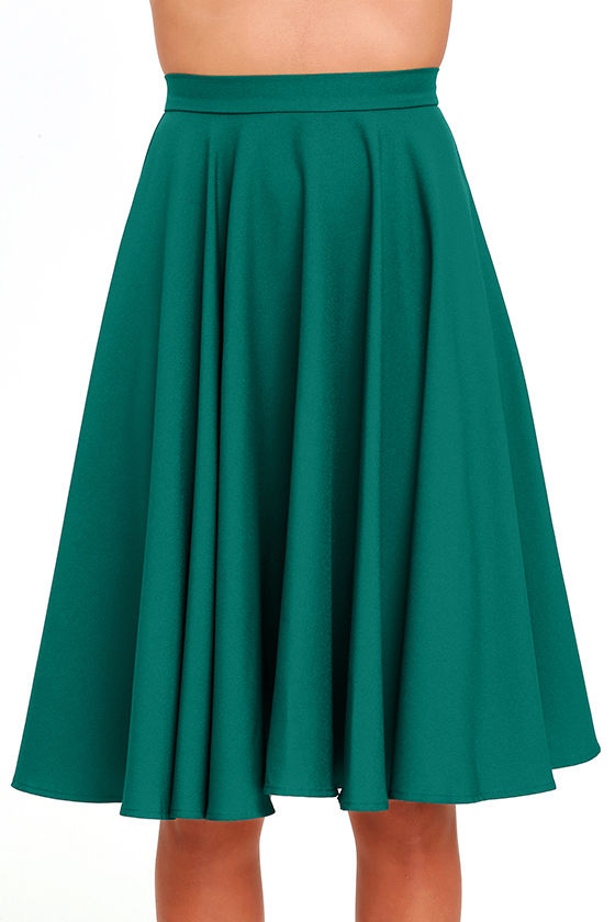 Dance Montage Dark Green Midi Skirt 4