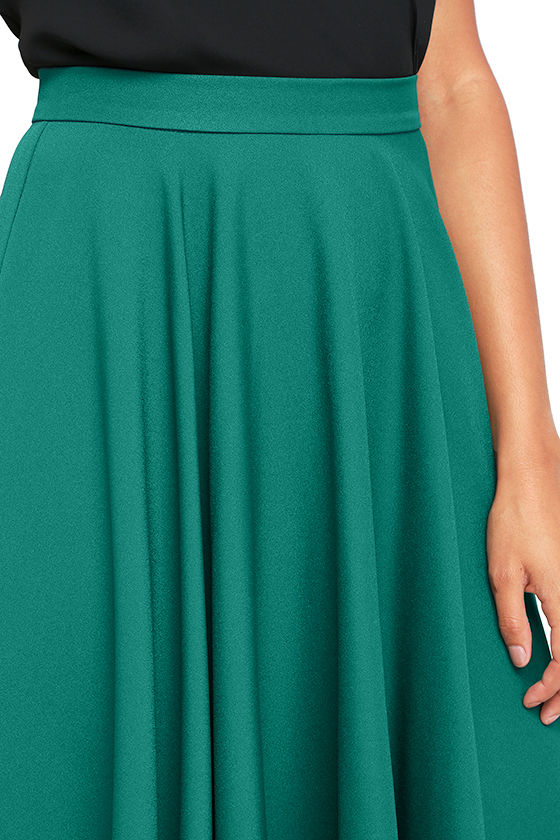 Dance Montage Dark Green Midi Skirt 5