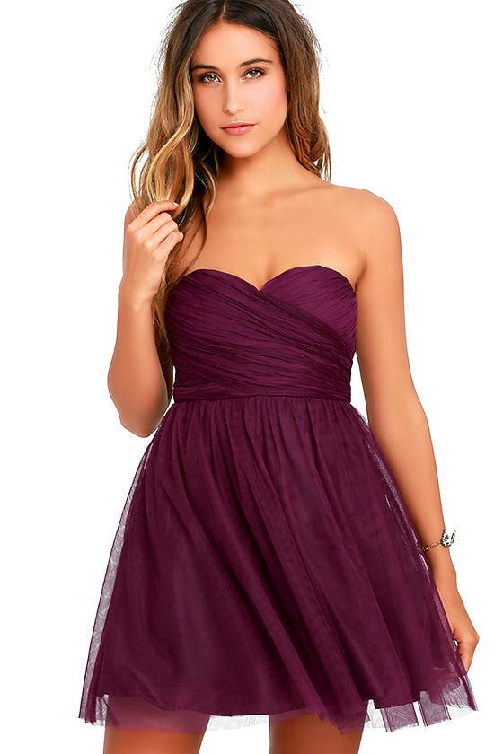 Cute Tulle Dress - Plum Purple Dress - Strapless Dress - $64.00
