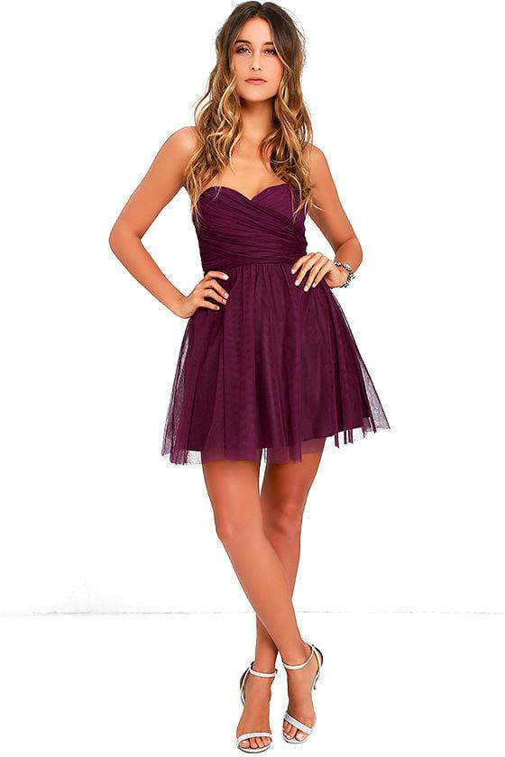 4384dc2a45 Cute Tulle Dress - Plum Purple Dress - Strapless Dress - $64.00