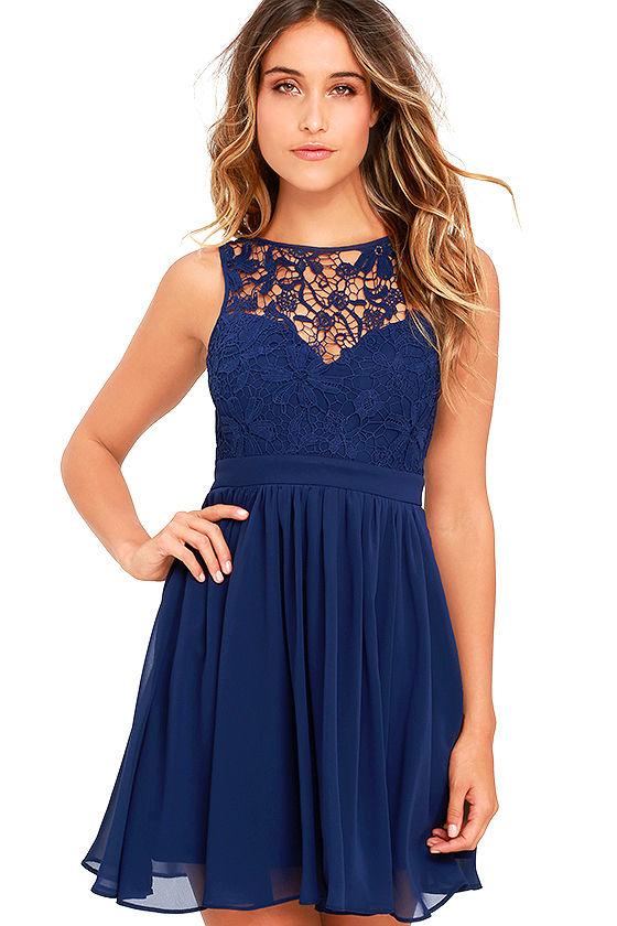 lovely navy blue dress lace dress skater dress