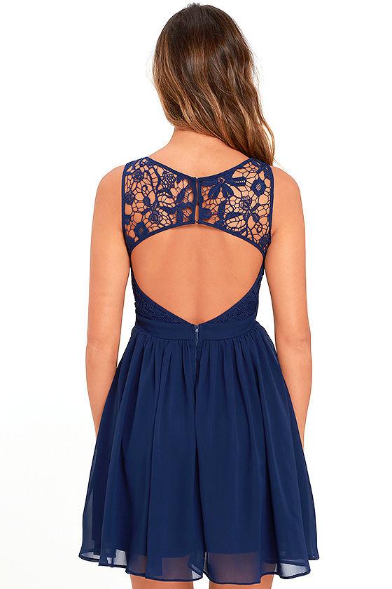 Lovely Navy Blue Dress - Lace Dress - Skater Dress - Backless ...