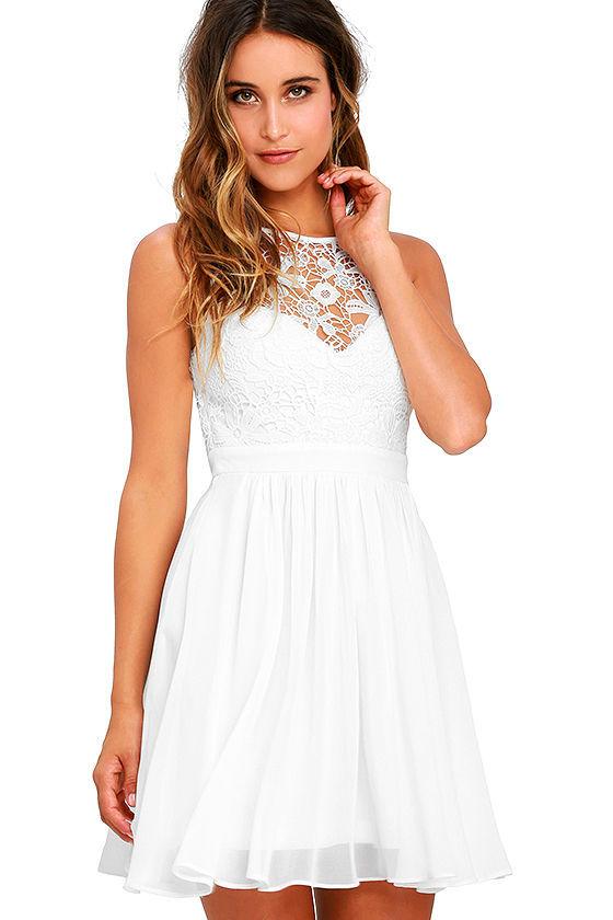 Lovely White Dress - Lace Dress - Skater Dress - Backless Dress ...