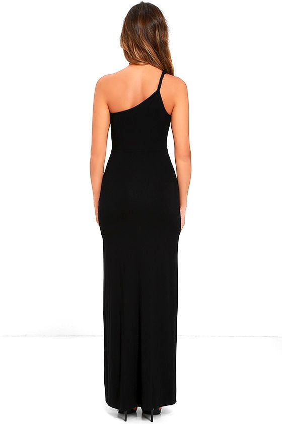Face to Face Black One Shoulder Maxi Dress 5