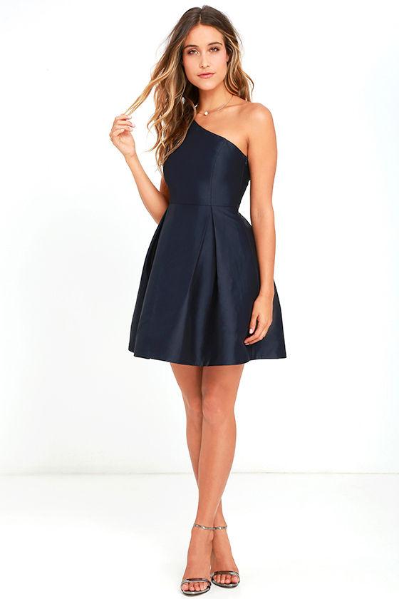 Navy One Shoulder Dresses