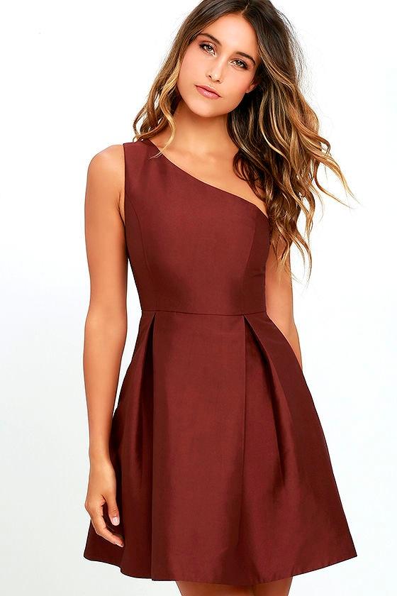 One Shoulder Burgundy Dress