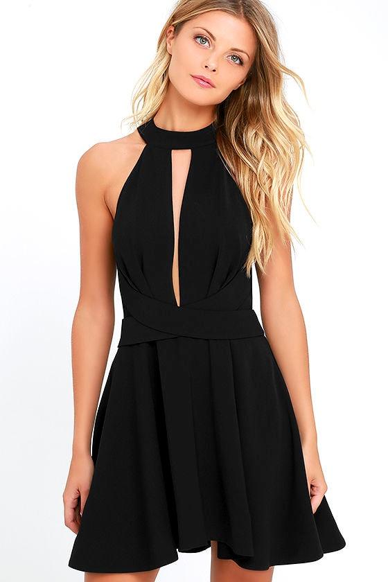 chic black dress skater dress party dress. Black Bedroom Furniture Sets. Home Design Ideas