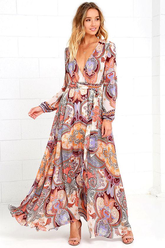 Boho Dress - Cream Print Dress - Maxi Dress - Paisley Dress - Long ...