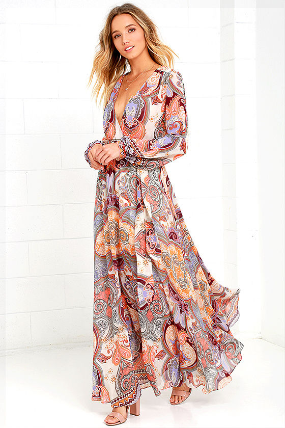 08600103 Boho Dress - Cream Print Dress - Maxi Dress - Paisley Dress - Long ...