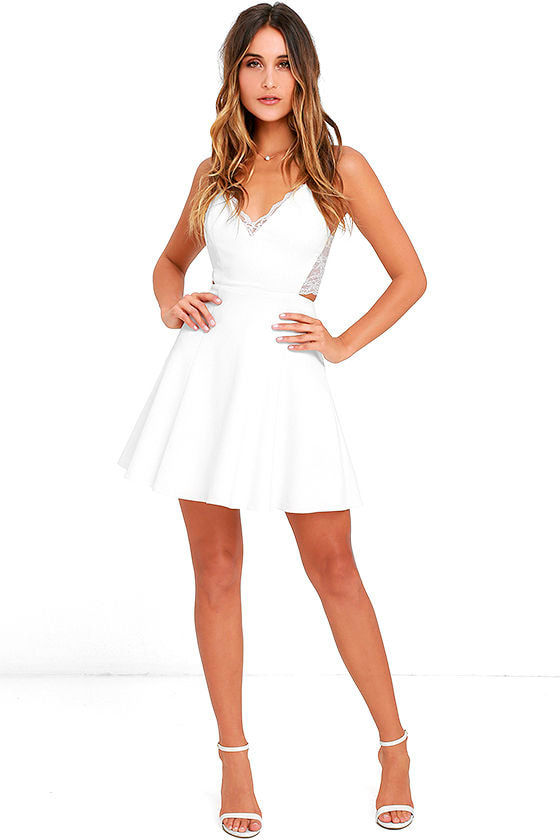 Perfect Evening Ivory Lace Skater Dress 2