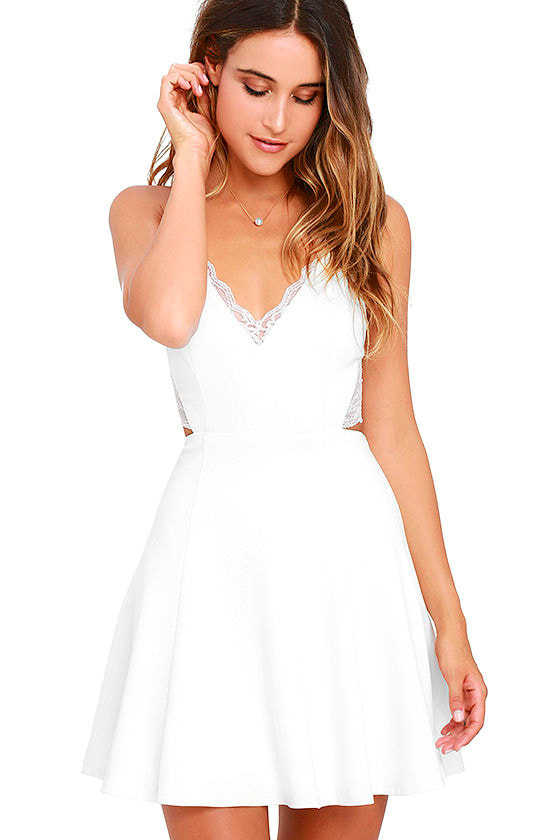 Perfect Evening Ivory Lace Skater Dress 3
