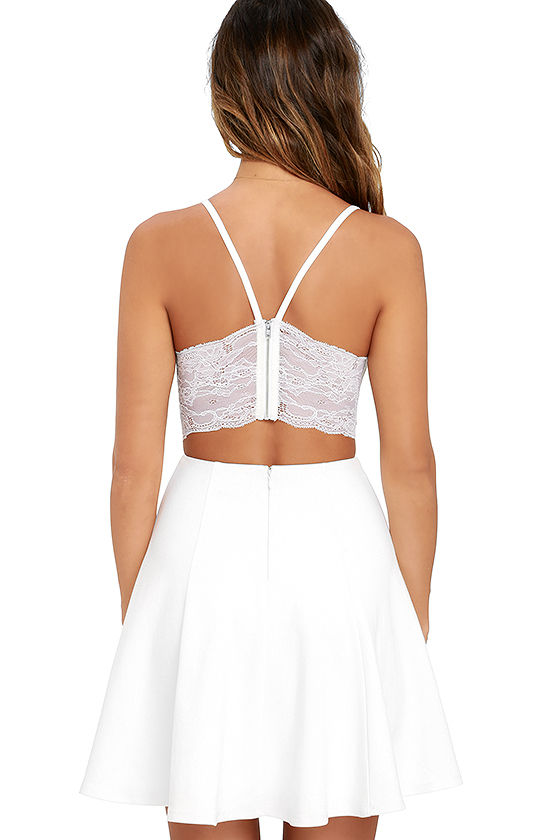 Perfect Evening Ivory Lace Skater Dress 4