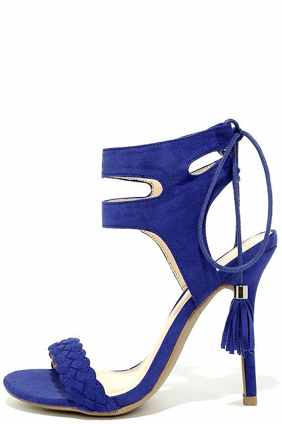 861426f01a6 Chic Royal Blue Heels - Caged Heels - Vegan Suede Heels - Lace-Up Heels -   26.00