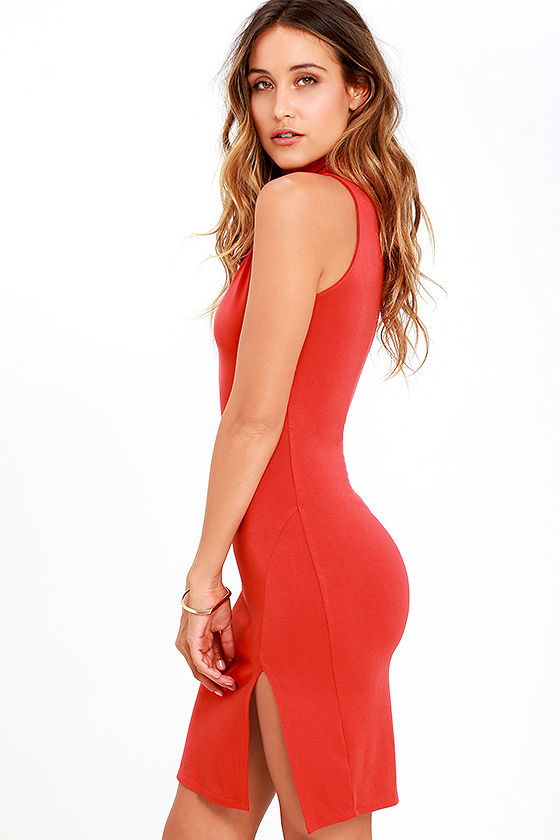 Red turtleneck bodycon dress pregnancy