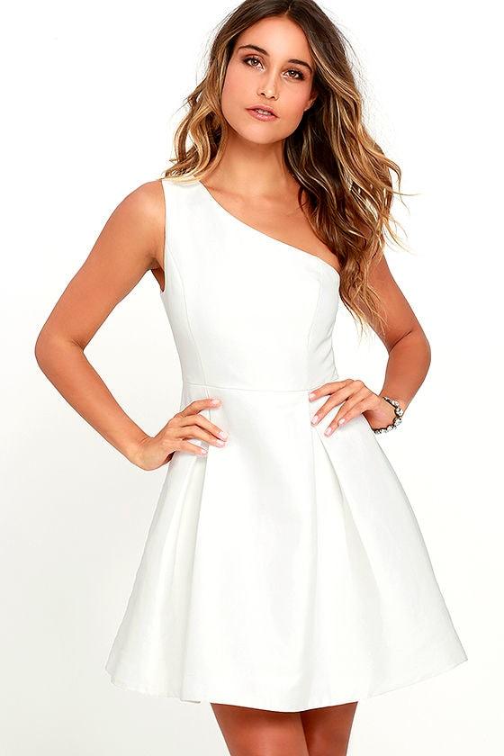 Lovely White Dress - Skater Dress - One Shoulder Dress - $64.00