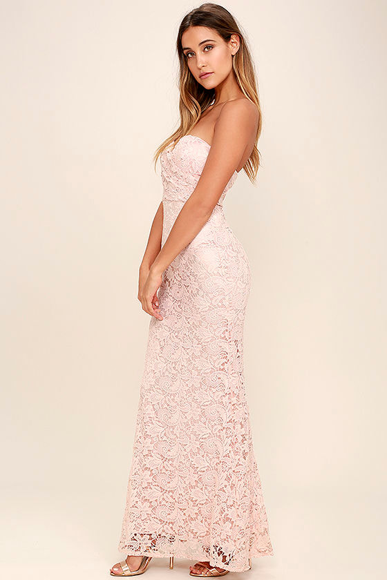 Blush Pink Lace Dress - Strapless Dress - Lace Maxi Dress ...