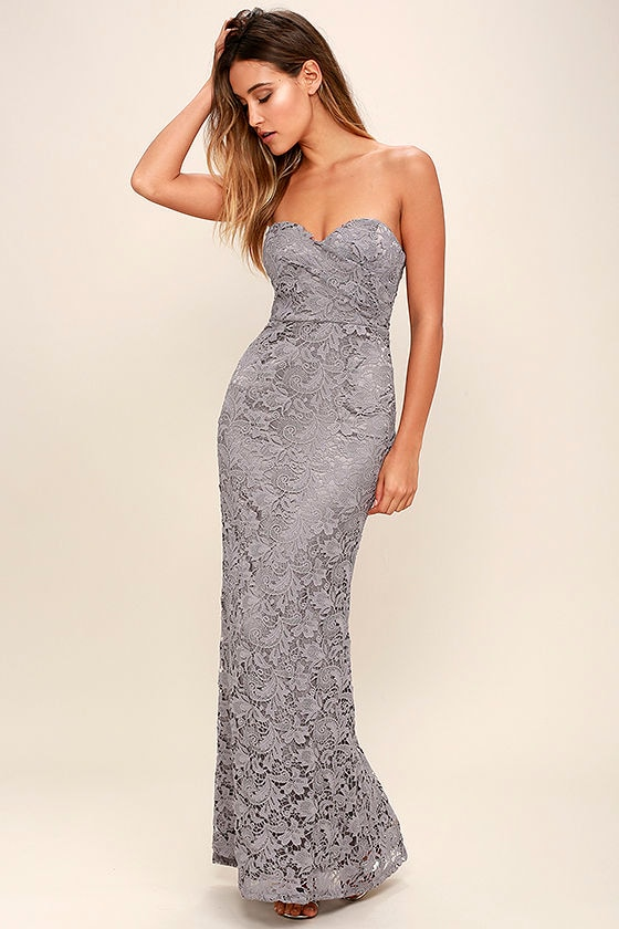 Grey Lace Dress - Strapless Dress - Lace Maxi Dress - Homecoming ...
