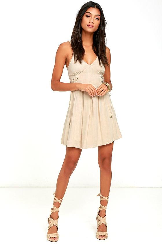 f8e2c8970d1 Moon River Light Beige Dress - Skater Dress - Lace-Up Dress -  77.00