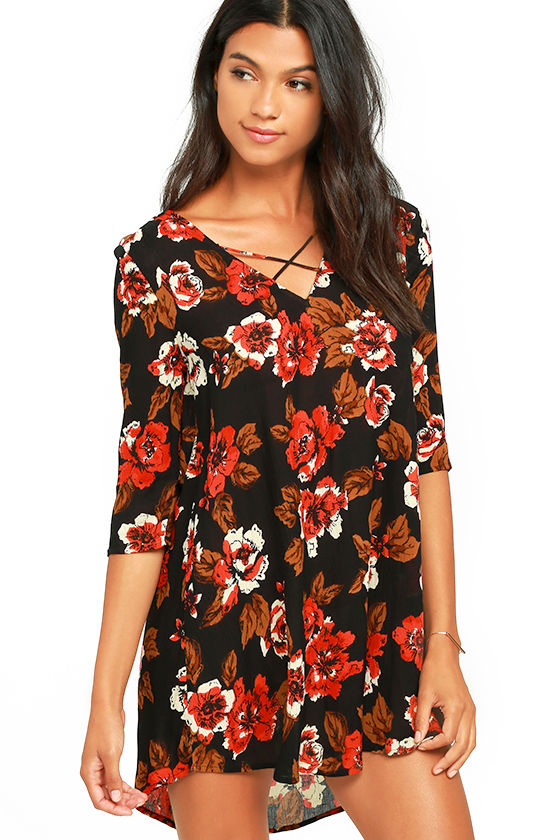Amuse Society Casyn Black Floral Print Shift Dress