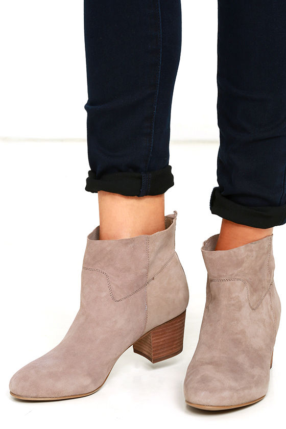 22a96a43c65 Steve Madden Harber Taupe Suede Leather Ankle Booties