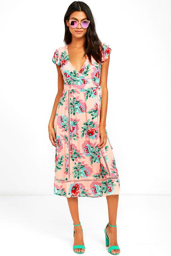 897cc6859bc Mink Pink Parade About - Blush Pink Floral Print Dress - Wrap Dress - Midi  Dress -  119.00