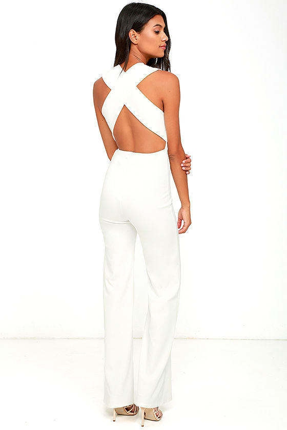 Chic White Jumpsuit - Backless Jumpsuit - Sleeveless Jumpsuit - $49.00