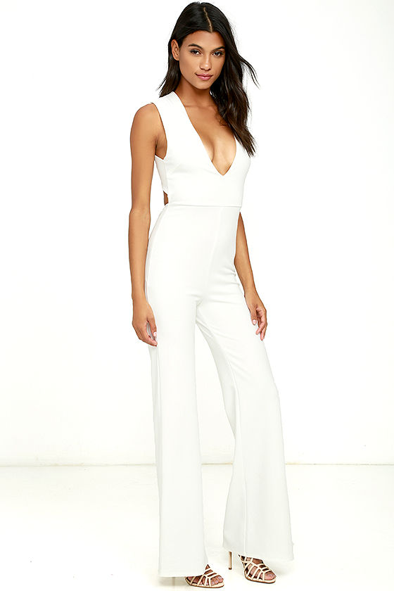 Thinking Out Loud White Backless Jumpsuit 3