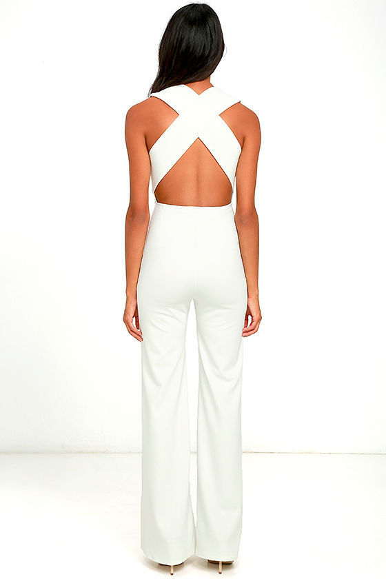 Thinking Out Loud White Backless Jumpsuit 4
