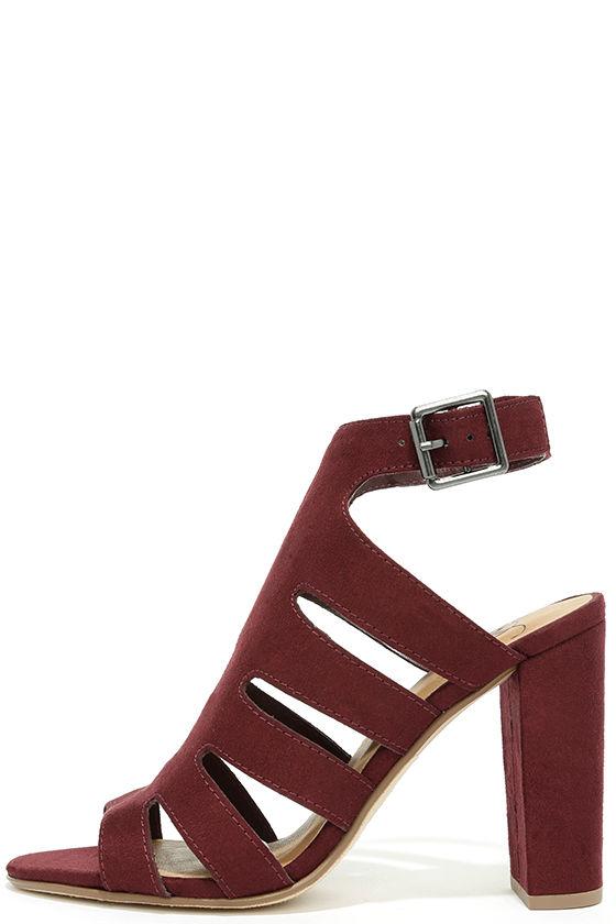 cd320973a Chic Burgundy Heels - High Heel Sandals - Vegan Suede Heels - $25.00
