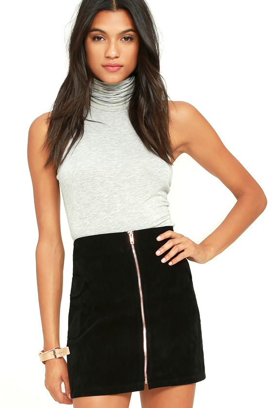 Mink Pink Feelin It - Black Skirt - Suede Skirt - A-Line Skirt ...