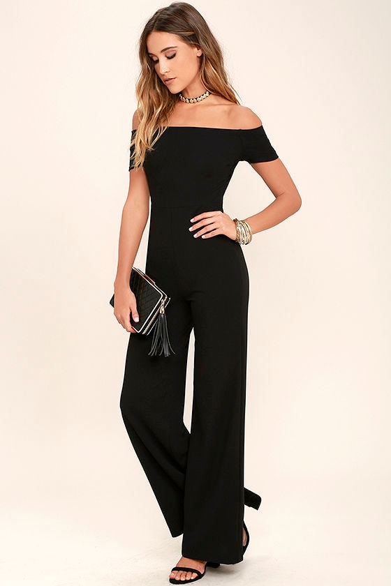 c557d811206 Sexy Black Jumpsuit - Off-the-Shoulder Jumpsuit - Wide-Leg .