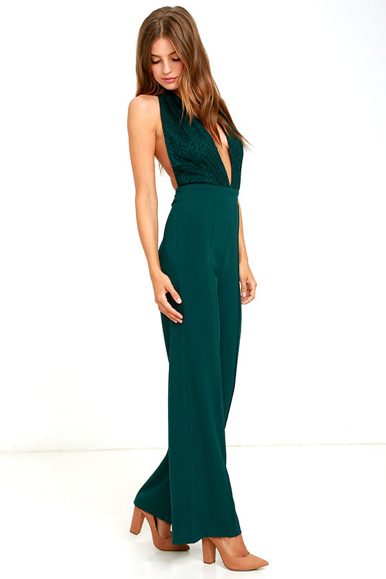 Sexy Dark Green Jumpsuit - Halter Jumpsuit - Lace Jumpsuit - $54.00