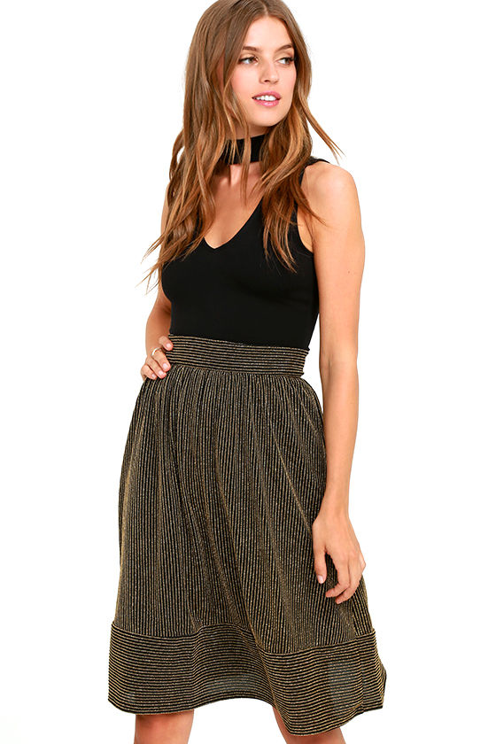 a946091d5fee Lovely Black and Gold Skirt - Striped Midi Skirt - Metallic Skirt - $56.00