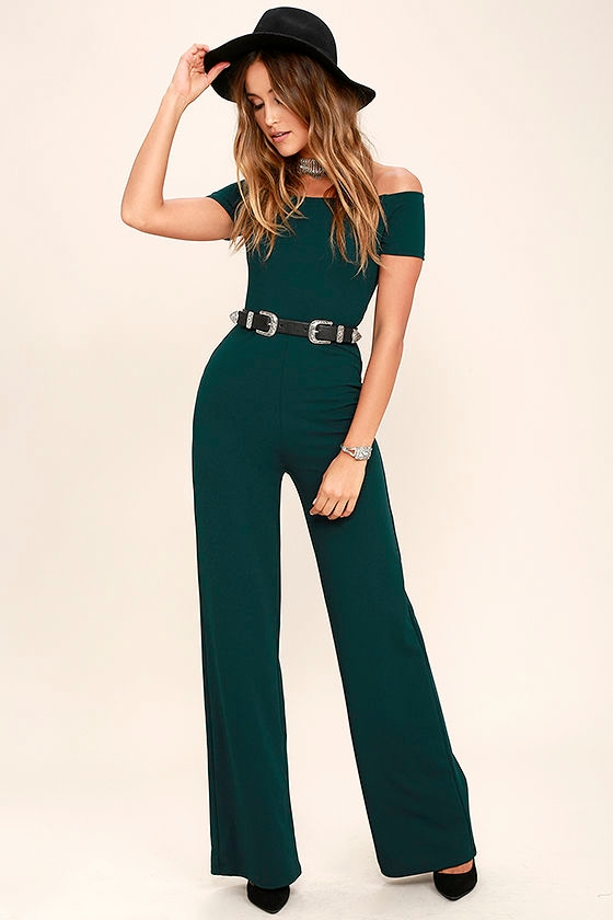 Give the dress a rest and go for these green jumpsuits instead. Gain instant off duty vibes in off the shoulder jumpsuits or jersey unitards, think: oversized pockets, drawstring ties and elasticated waistbands to nail the casj' look.