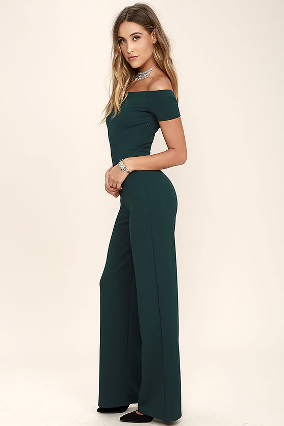 Sexy Dark Green Jumpsuit - Off-the-Shoulder Jumpsuit - Wide-Leg Jumpsuit - $49.00