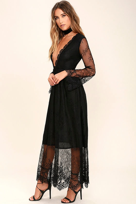 Beautiful Lace Dress - Black Lace Dress - Maxi Dress - $105.00