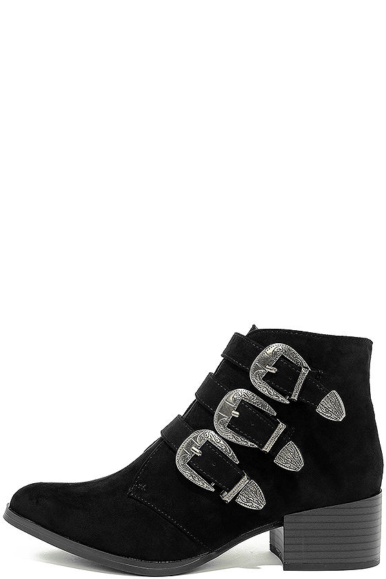 Belt Out Black Belted Suede Ankle Booties 2