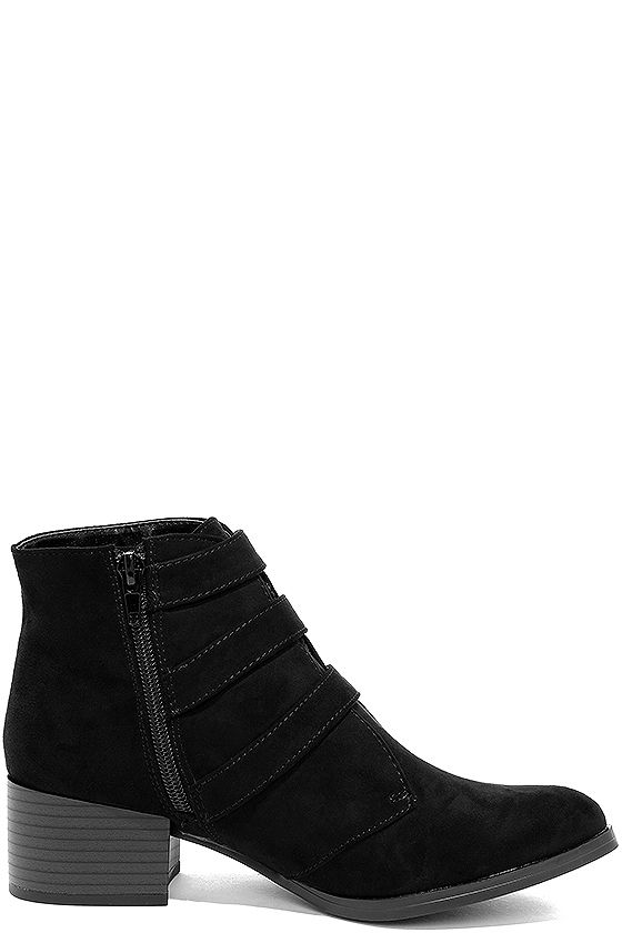 Belt Out Black Belted Suede Ankle Booties 4
