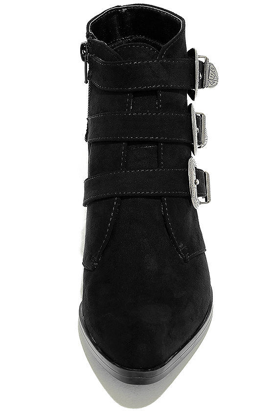 Belt Out Black Belted Suede Ankle Booties 5