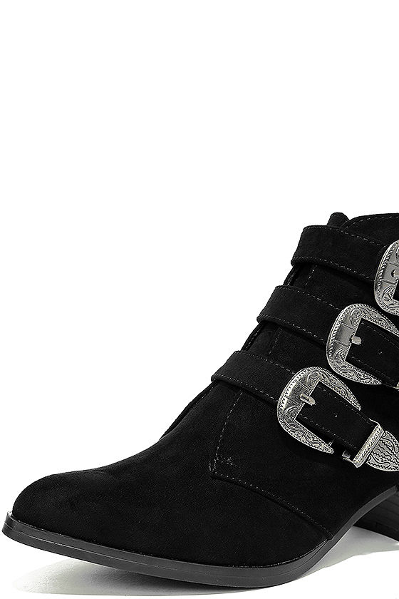 Belt Out Black Belted Suede Ankle Booties 6