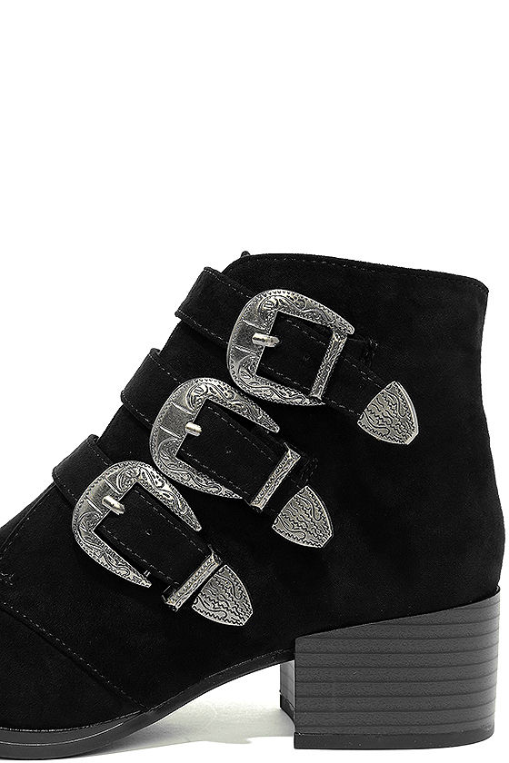 Belt Out Black Belted Suede Ankle Booties 7