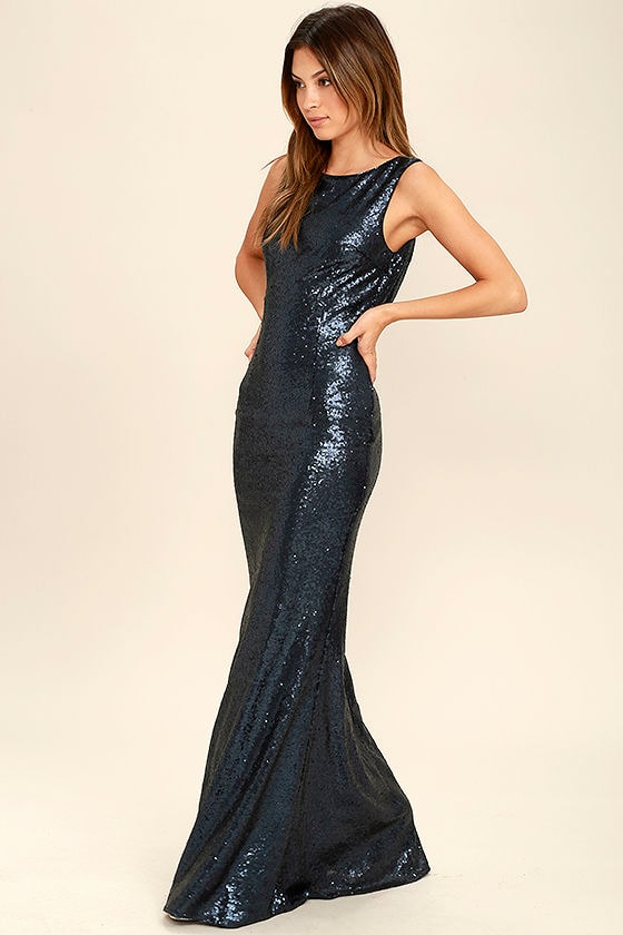 Matte Sequin Dress - Navy Blue Dress - Maxi Dress - Sequin Gown ...