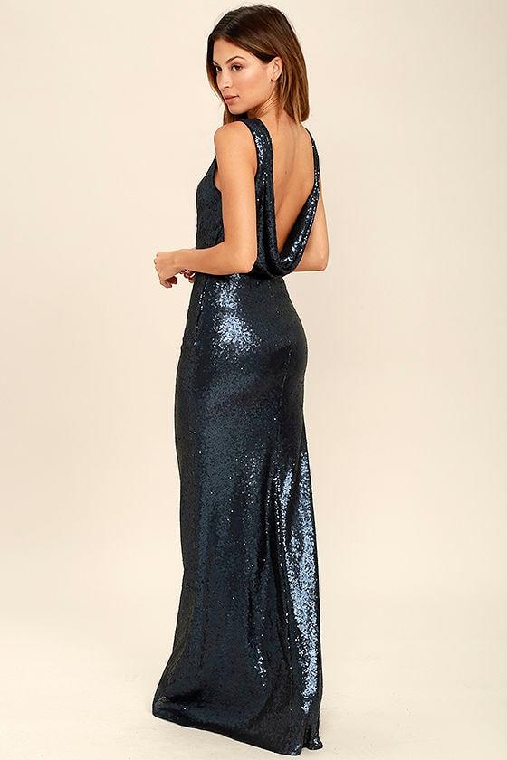 288d1526160d Matte Sequin Dress - Navy Blue Dress - Maxi Dress - Sequin Gown - $78.00