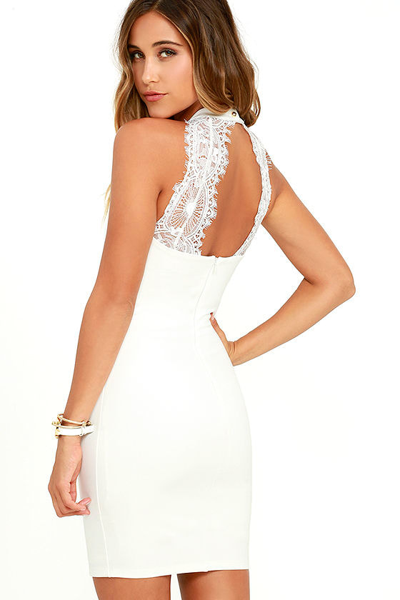 Endlessly Alluring White Lace Bodycon Dress 1