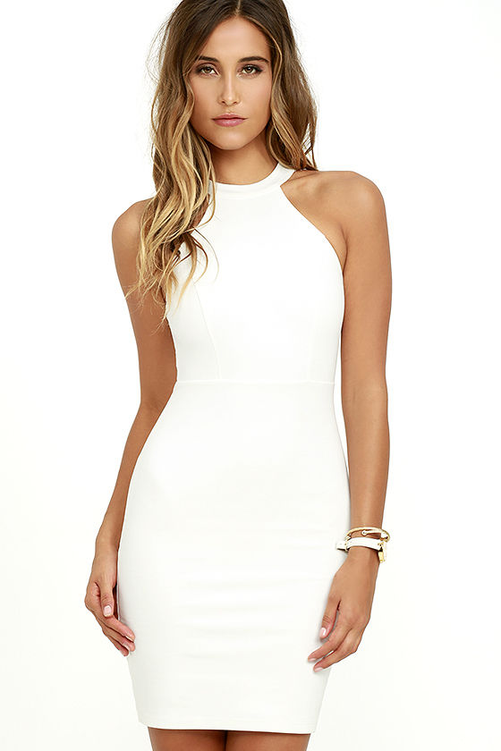 Endlessly Alluring White Lace Bodycon Dress 3